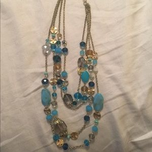 Waterfall Necklace 4 Strand Gold Turquoise Beads
